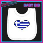 GREECE GREEK HEART FLAG I LOVE WHITE BABY BIB EMBROIDERED